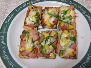朝食・おやつに 丁字麸のひとくちピザ(^◇^)